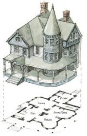 images about Mrs  Corbet    s Boarding House on Pinterest   Gas    A watercolor sketch of a typical Tower Queen Anne   asymmetrical plan and wrap around