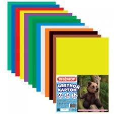 <b>Картон цветной</b>, А4, 24 листа, 12 цветов, <b>ПИФАГОР</b>, 200х283 мм,