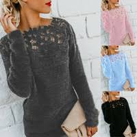 Wholesale Plus Size <b>long sleeve</b> lace pullover blouse - Buy Cheap ...