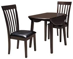 three piece dining set: ashley signature design hammis  piece round drop leaf table set