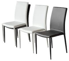 faux leather dining chair black:  pair of contemporary dora faux leather stackable dining chairs  p
