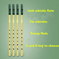 <b>Irish Whistle Flute Feadog</b> C D Key Tin Whistle Irish Penny whistle 6 ...