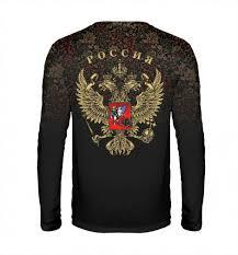 Мужской <b>лонгслив</b> Медведь и герб России на фоне хохломской ...