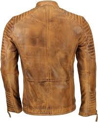 Xposed Mens Real Leather Slim Fit Biker Jacket <b>Vintage Hand</b> ...