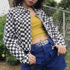 Women Streetwear <b>Kpop</b> Fashion Checkerboard Cropped Plaid ...