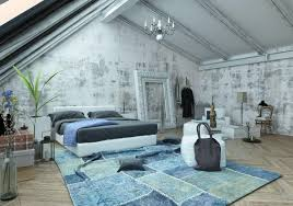 luxurious attic bedroom with vaulted ceiling modern furniture blue rug unfinished wall attic bedroom furniture
