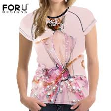 <b>FORUDESIGNS</b> Pink 3D Printing <b>Women T shirts For</b> Teen Girls ...