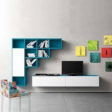 modern wall mounted tv media unit blue by morassutti bespoke wall storage