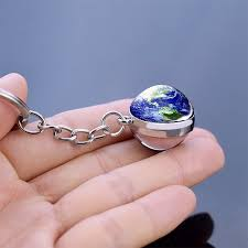 Moon Keychain <b>Solar System Planet Keyrings</b> Galaxy Nebula Space ...