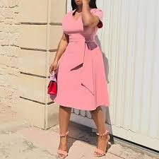 Pink Sweet African Fashion Plus Size Party <b>Elegant Summer</b> ...
