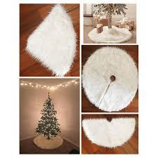 2 Sizes 78cm/90cm <b>White Plush</b> Christmas Tree Skirt Christmas ...