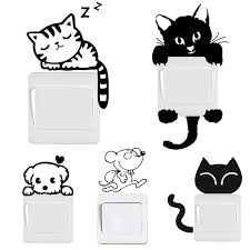 <b>DIY Funny Cute</b> Black Cat <b>Dog</b> Rat Mouse Animls Switch Decal Wall ...