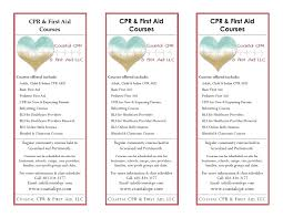 samples of my work coastal cpr first aid rack cards 2013 front full