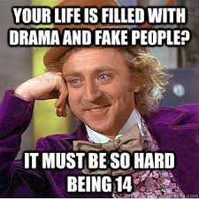 Your life is filled with drama and fake people? It must be so hard ... via Relatably.com