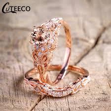 <b>CUTEECO</b> Rose Gold Filled White Zircon Wedding Engagement ...