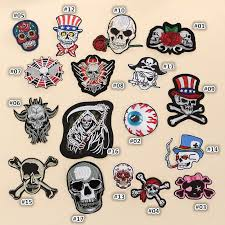 1Pc <b>Punk Skull Patch</b> Embroidered Applique Cloth | Shopee ...