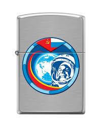 <b>Зажигалка ZIPPO Гагарин с</b> покрытием Brushed Chrome - купить в ...