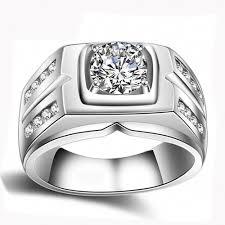 <b>YANHUI Original</b> Natural <b>925</b> Silver Rings For Men Sona 1 Carat ...