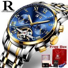 <b>RONTHEEDGE Men</b> Stainless Steel <b>Mechanical Automatic</b> Watch ...