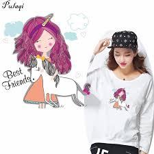 <b>Pulaqi Cute Unicorn</b> Girl Stickers On Clothes Children Favorite Heat ...
