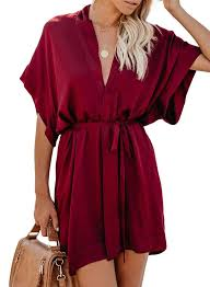 <b>Women</b> V Neck Waist Tie Kimono Mini <b>Dress</b>   Mini <b>shirt dress</b> ...