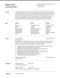 sample cv targeted at fashion retail positions example resume for retail