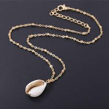 <b>Fashion Natural Shell</b> Wrapped Gold Necklace for Women <b>Natural</b> ...