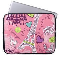 Eiffel <b>Tower Love Paris France</b> Pink Laptop Sleeve | Zazzle.com