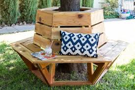 build a gorgeous hexagon cedar bench that fits perfectly around a shady tree using this tutorial cedar bench plans