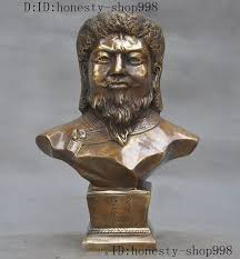"<b>christmas</b> 9""<b>Old China Bronze</b> Mongolian Emperor Jenghis Khan ..."