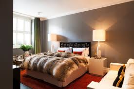 oakwood court holland park london mid sized contemporary bedroom idea in london with gray walls bedside wall lighting