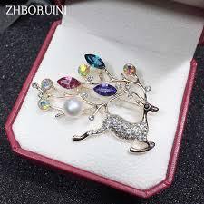 zhboruini 2019 new natural pearl brooch elk deer breastpin freshwater jewelry for women christmas gift accessories