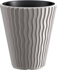<b>Кашпо Prosperplast Sandy</b>, <b>DBSP400-405U</b>, серый, 39 х 39 х 43,6 см