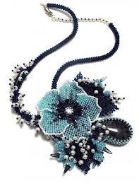 Aqua & Black <b>Seed Bead</b> Flower <b>Necklace</b>