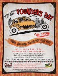 oklahoma area car shows and events listing we list oklahoma area 13th locust grove ok 17th annual outlaw cruiser founders day car show 8 3 prizes live music 50 50 pot swap meet contact 918 638 7484