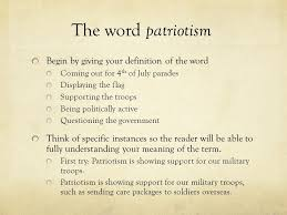 patriotism definition essay  wwwgxartorg the definition essay the word game basketball championship the word patriotism begin by giving your definition