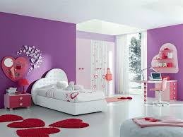 girls room decor ideas painting: magnificent pink and purple teenage girl bedroom design with walls painted of purple also white bed