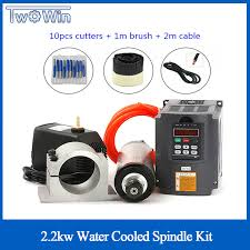 Water Cooled Spindle Kit <b>2.2KW CNC</b> Milling <b>Spindle Motor</b> + <b>2.2</b> ...