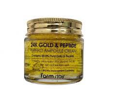 <b>Farmstay 24K Gold &</b> Peptide Perfect Ampoule Cream (80ml 2.70 oz ...