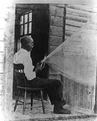 cultural landscape of plantation slave skills and talents former slave from coastal making a fishing net early twentieth century
