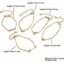 Hot Top Quality <b>5 pcs</b> Vintage Gold Color Crystal Moon Bracelet <b>Set</b> ...