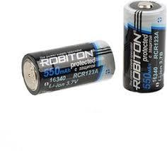 <b>16340</b>-2/550 (RCR123А), <b>Аккумулятор</b> Li-ion, 550mAh, 3.7V