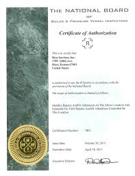 certifications hess services inc asme u certified for the manufacturing of pressure vessels 47 177
