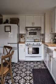 kitchen floor tiles small space: retro kitchen appliances white kitchen cabinets beveled subway tile patterned floor tile