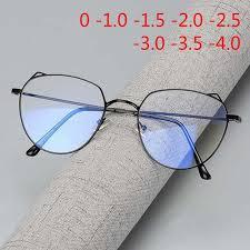 Women Retro <b>cat</b> ears myopia glasses <b>metal</b> frame round light flat ...