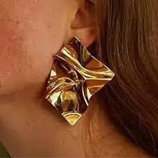 RONGBIN Vintage <b>Geometric</b> Metal Earrings for <b>Women Gold</b> color ...