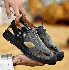 Beach <b>Sandals Mens</b> Genuine Leather Closed Toe <b>Sandals</b> Casual ...