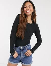 Pieces Nynne <b>lace edge long sleeve</b> top | ASOS