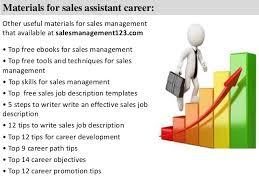 sales assistant job description   materials for  s assistant