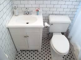 white bathroom floor: vintage black and white floor tile